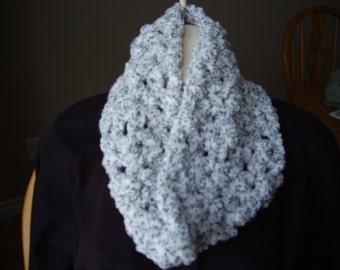 Crochet White with Black Flecks Womans Cowl/Neckwarmer