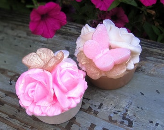 Rose Soap Favor, Garden Party, Pink Rose, Ivory Rose, Butterfly, Wedding Favor, Shower Favor, Soap Favor, Handmade Soap, Birthday Party