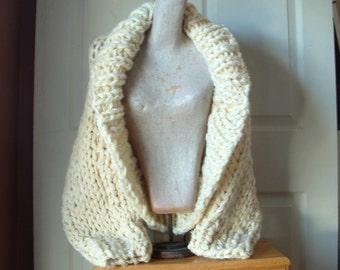 Shawl collar shrug sweater crop cardigan cardi super chunky knit  long sleeves extra small small medium women in cream