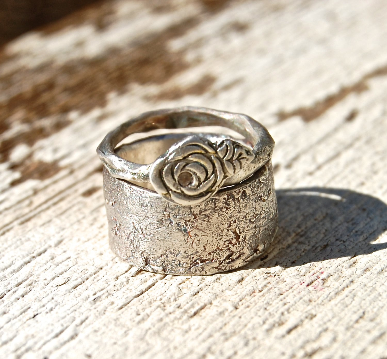 Wedding Rings Artisan Romantic Rose White By Codysanantonio