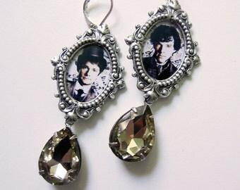 Sherlock Holmes and Watson in  Steampunk Style Earrings - CHOOSE your stone drop!