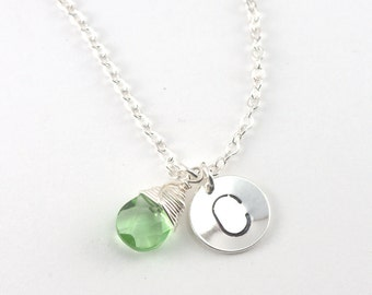 Personalized Silver Necklace with Choice of Color Charm #634