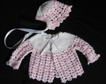 Pink and White Crocheted Baby Sweater and Hat Set