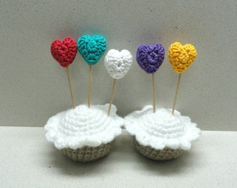 Supplies small CROCHETED hearts in white , yellow, purple, red and turquoise handmade by Artefyk tagt team