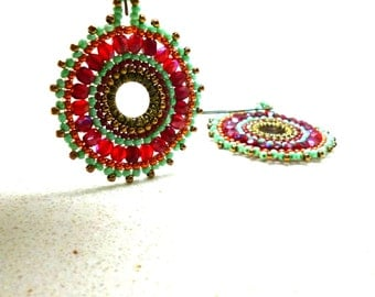 Mandala jewelry Earrings circle earrings  bead work earrings by Artefyk