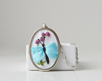 Blue butterfly necklace, silk ribbon embroidery, embroidered necklace pendant, fiber art jewelry, insect jewelry
