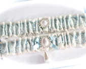 Bride Garter Set in Lace and Satin with Pearl and Rhinestones Cabochon Centerings