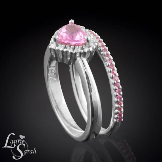 Sapphire Ring, Pink Sapphire Heart Wedding Set with Diamond Halo and Pink Sapphire Wedding Band - LS2258