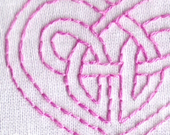 Celtic Knot Hand Embroidery Pattern, PDF, Celtic, Heart, Love