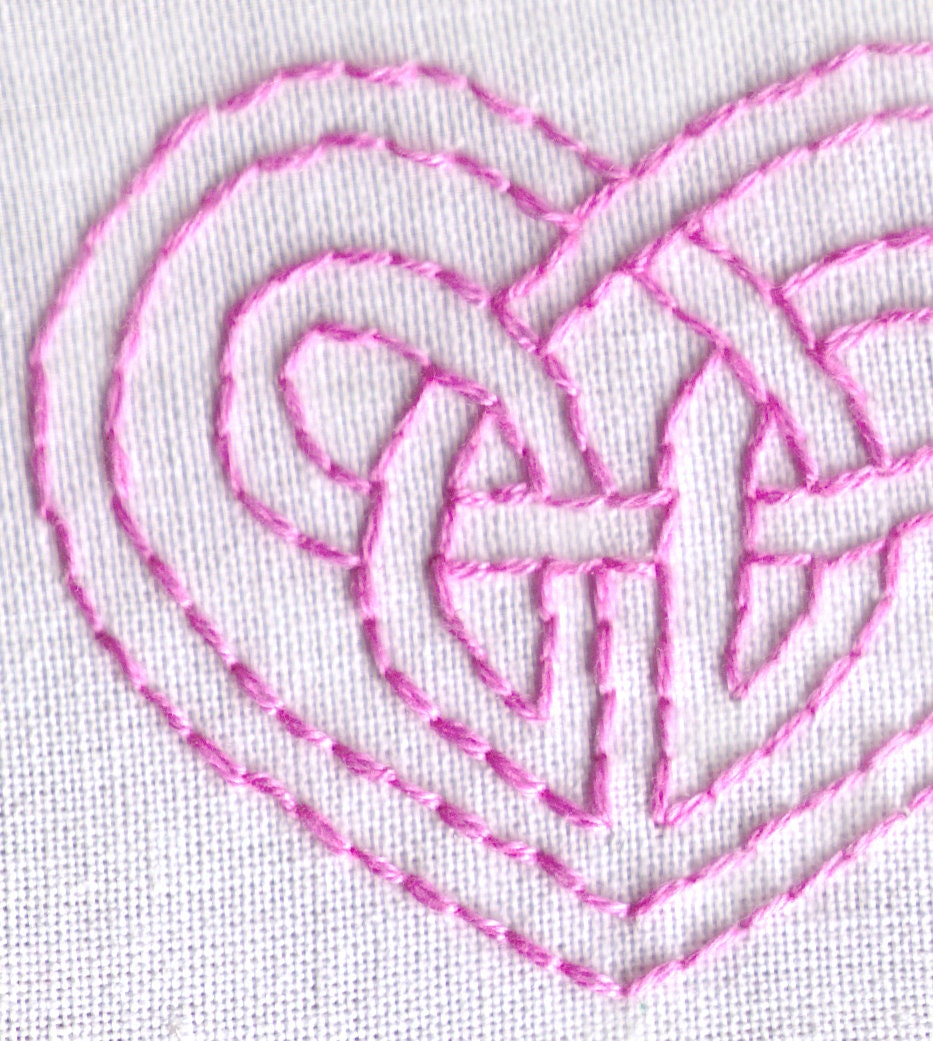 Celtic knot hand embroidery pattern pdf heart love