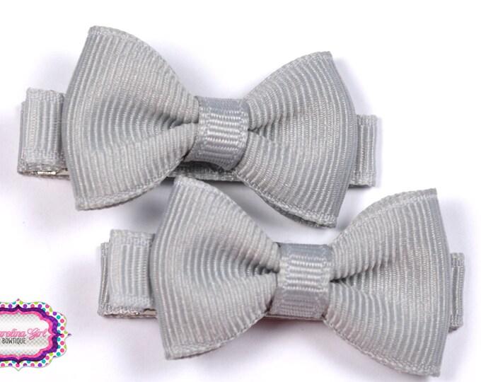 Silver Hair Bow Set of 2 Small Hairbows - Girls Hair Bows - Clippies - Baby Hair Bows