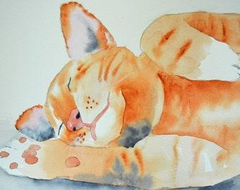 Art, Fine Art Print of Watercolor Painting of a Sleepy Orange Tabby Cat