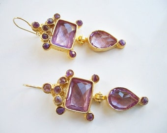 Amethyst  and Purple Glass gold plated earring