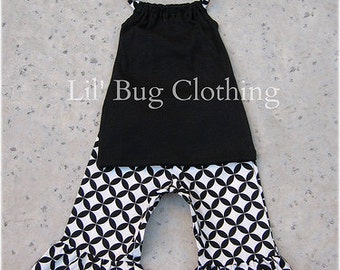 Custom Black White Diamond Capri and Halter Set size 3m 6m 9m  12 18 24 2 3 4 5 6 7 8 9/10