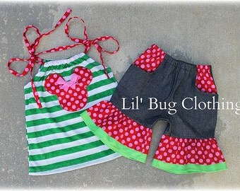 Custom Boutique Green Stripes  Personalized Watermelon Minnie Summer Pocket Denim Shorts and Top Girl Outfit