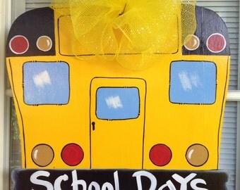 Front door decor, Bus door sign, Classroom door     hanger, School door sign,  School door hanger, School bus, teacher wood sign