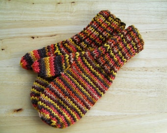 Child Medium Mittens Wool Hand Knit Autumn