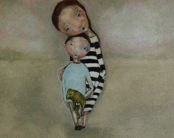 """Giclee Large wall art. 13 x 19 print. mother and son. """"Treasures"""""""