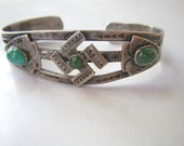 Navajo Bracelet Coin Silver Cuff Whirling Log Fred Harvey Antique