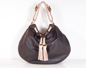 SALE Amelie - Handmade Brown Leather Drawstring Hobo Bag.