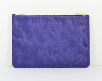 Coralie - Handmade Purple Hair On Hide Leather Clutch Bag Zip Pouch Purse