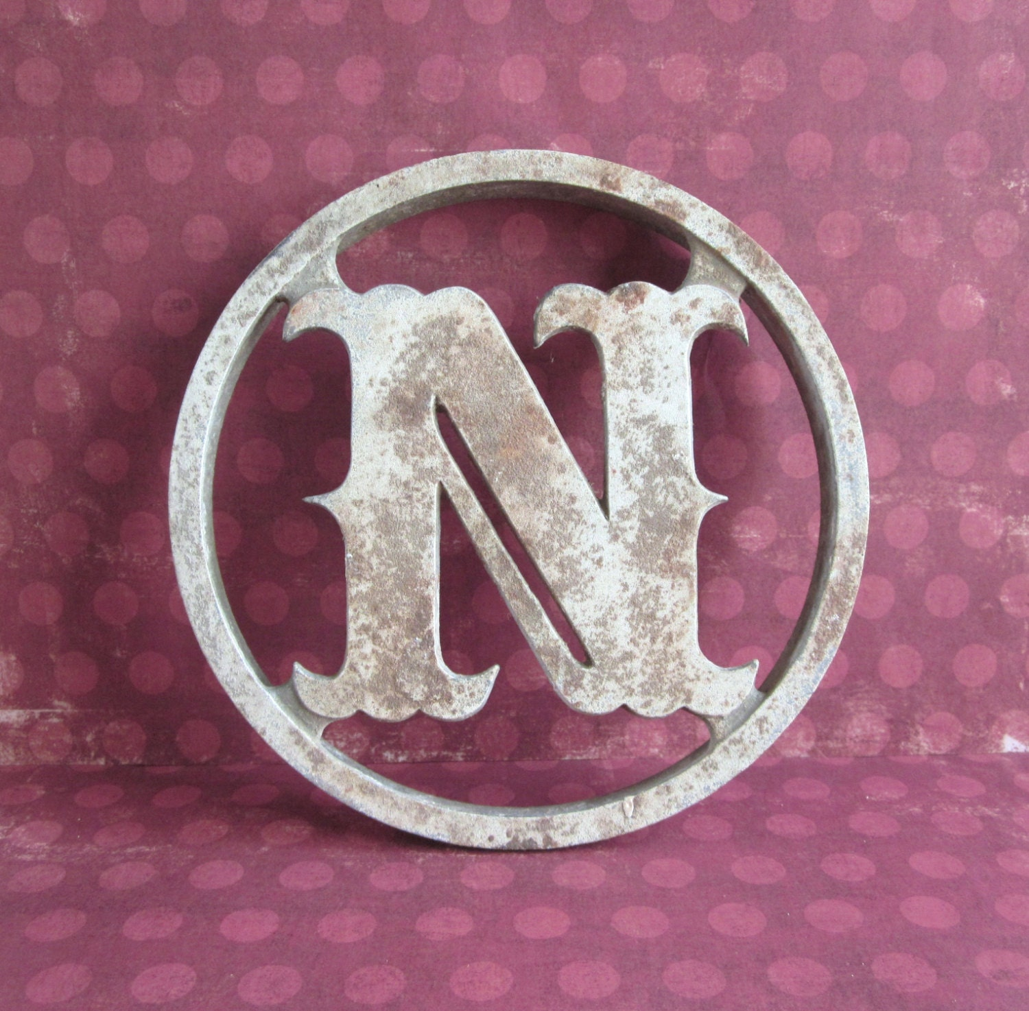 Vintage Aluminum Screen Door Monogram Letter N By