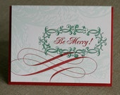 25 Christmas Cards, Letterpress Be Merry