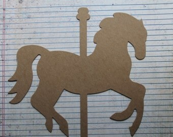2 Extra Large Bare/Unfinished chipboard die cut Carousel HORSE diecuts 7 7/8 inches x 7 3/8 inches