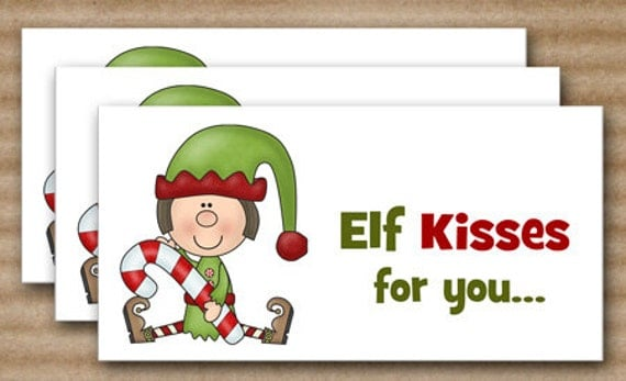 ... Bag Topper - Elf Kisses - INSTANT DOWNLOAD Printable Digital File