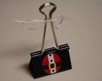 Clearance Sale LARGE binder clip recipe - gift card - photo holder SANTA BELLY