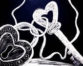 Heart Locket and Alice Key, 8.5x11 Fine Art Chalk Print by Paper-Mâché Dream Photography
