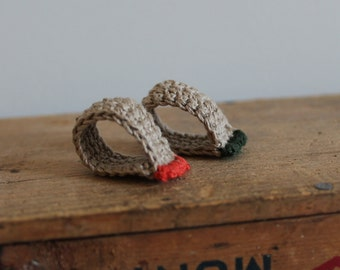 Duo, 2 rings , 2 fingers...green, orange, beige, Bijoux tricot, crochet, cotton, washable