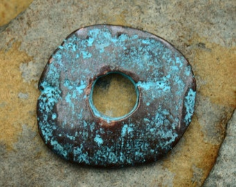 1 Greek Casting Green Patina 25mm Cornflake Beads