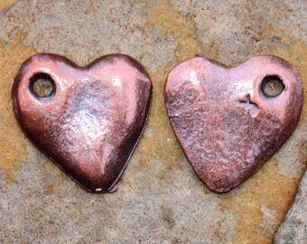 4 Mykonos Greek Casting Bronze Heart Cornflake Dangle Beads
