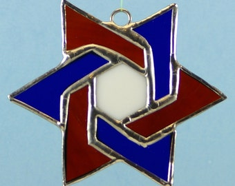 Stained Glass Blue, Red and White Star of David Suncatcher