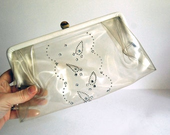 Clear Plastic Clutch, 1950s Vinyl Bag, Rhinestones Purse, Retro Evening Bag, Transparent Wedding Accessories, Formal Dance, White Vinyl