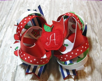 Layered Back to School Loopy Layered Hair bow with monogrammed apple center