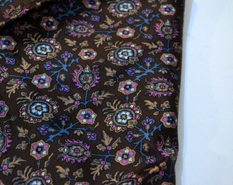 Vintage Echo Silk Brown and Blue Scarf 22 inch Sq