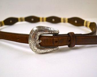 Vintage Leather Belt Silver Buckle Silver Medallions 32