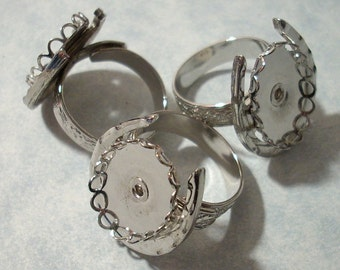 3 Rhodium Plated Horseshoe Rings, Horse Shoe, Adjustable Brass Ring Blanks with 18 x 13mm Cabochon Settings