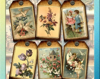 Rustic ViNtAgE Art Hang/Gift Tags/Cards-Lovely Vintage Images-INSTaNT DOWNLoAD- Printable Collage Sheet  JPG Digital File- New Lower Price