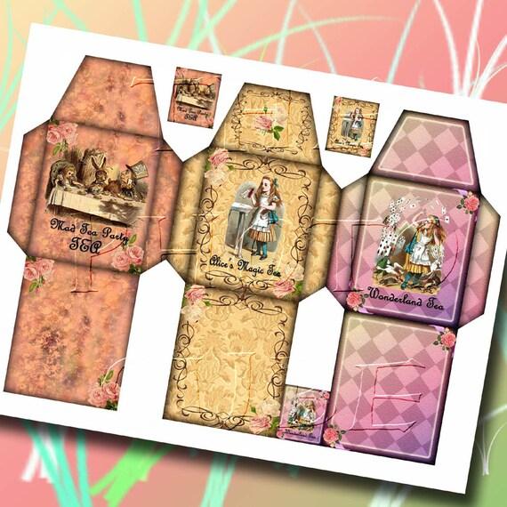 alice in wonderland 3 whimsical tea bag sleeve templates tags