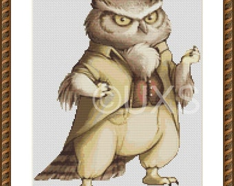 Sylvan the Great Horned Owl cross stitch pattern