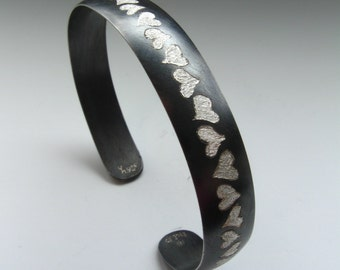 NEW Sterling Silver Hand Engraved Heart Cuff