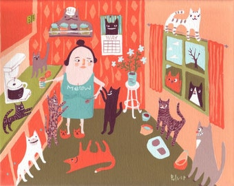 """Cat Lady in Kitchen Art Print of Sara Pulver - Whimsical and Funny Folk Art -Orange and Green 8""""x10"""" Rescue Cats Tiger Black Grey White"""