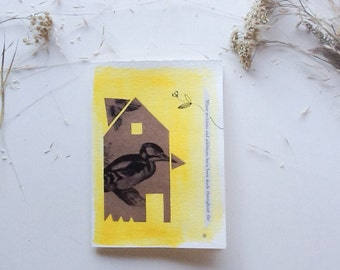 Original Greeting Card Art Collage Midcentury Modern Bird House