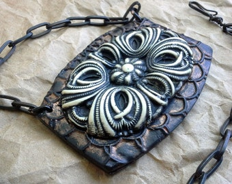 """New Old series - """"Badge of Old"""" - Polymer necklace pendant"""