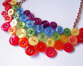Rainbow necklace - one of a kind button neckpiece
