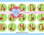 Christmas Reindeer Green Alphabet 1 Inch Bottle Cap Images - Digital Download