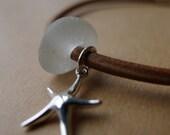 English Seaglass Rondelle Starfish Leather Cord Bracelet